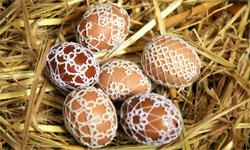 Пасхальные яйца в кружеве фриволите