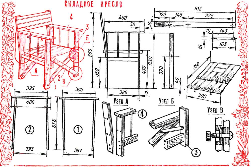 Как сделать складной стул своими руками чертежи