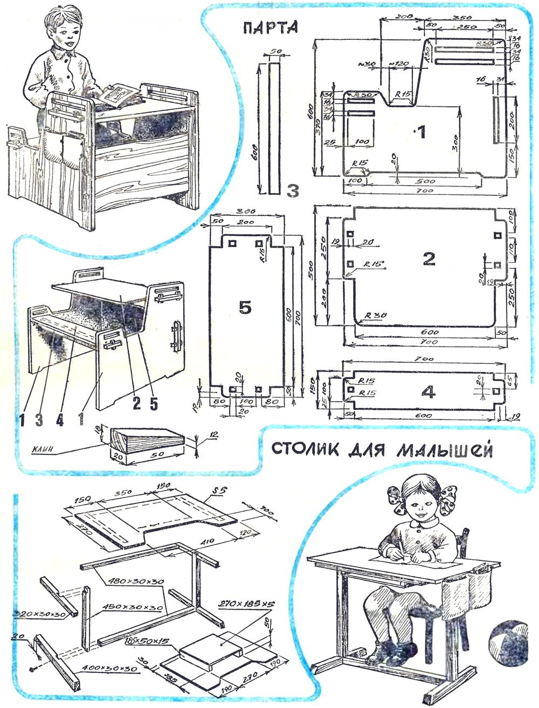 Парта для ребенка своими руками: чертежи, описание, сборка 89