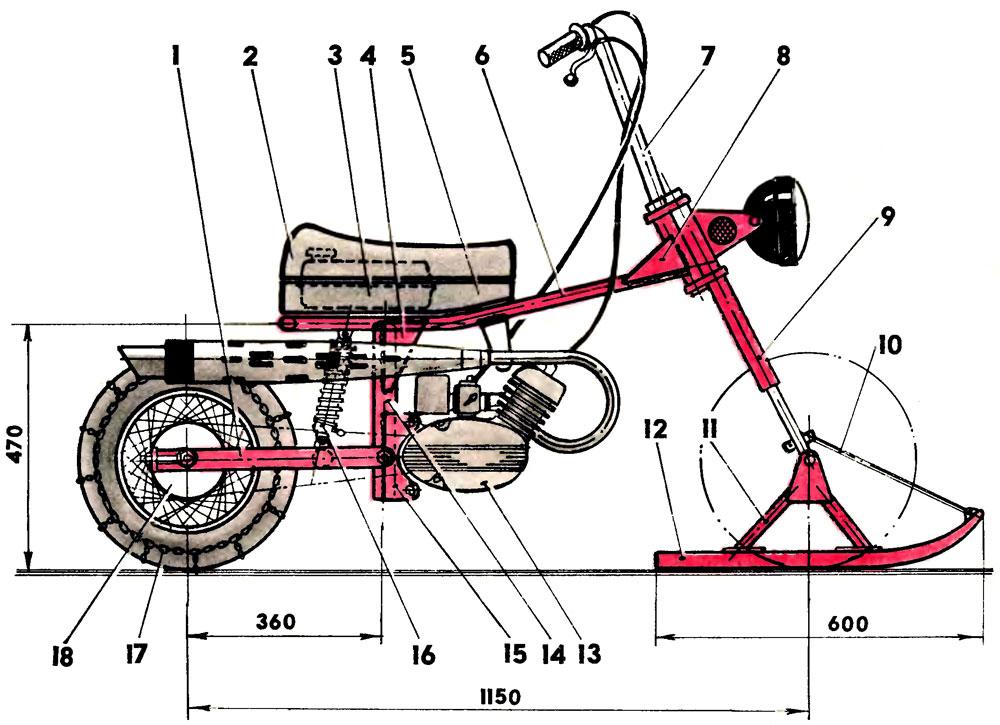 Как сделать из велосипеда снегоход своими руками видео
