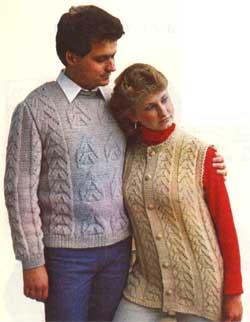 Мужской пуловер и женский жилет