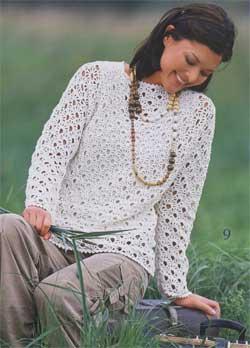 Пуловер с узором из вееров
