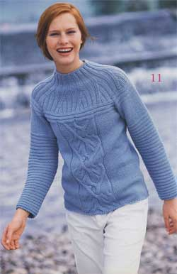 Пуловер с рельефной кокеткой