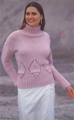 Розовый пуловер с ромбами