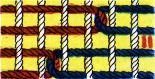 Один из способов соединения уточин в ткани ковра