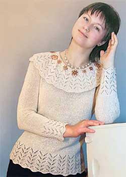 Женский пуловер с отделкой бисером (размер 44—46)