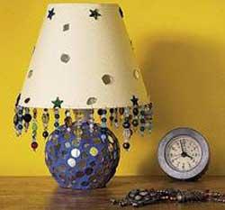 Настольная лампа из стекла и бусинок