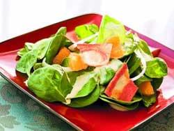 Рецепт шпинатного салата с апельсином и репкой