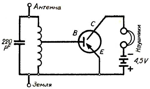 схема простейшего радиоприемника.